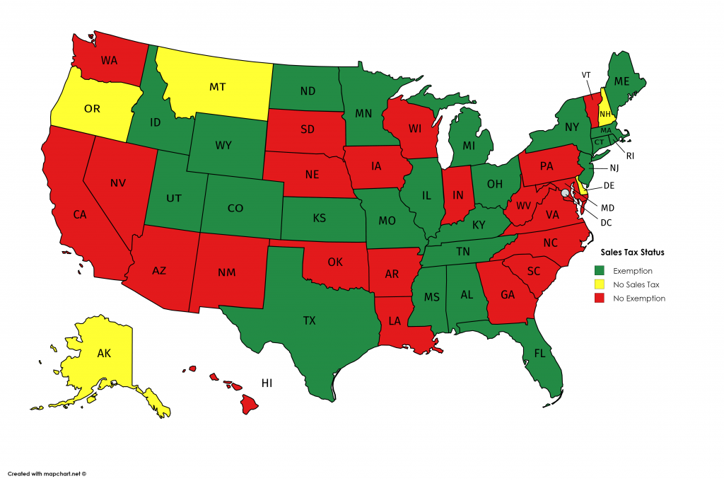 Map of US indicating UA sales tax status - green for exemption, yellow for no sales tax, and red for no exemption